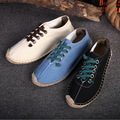 Plus Size Unisex Canvas Flat Heel Stitching Shoes Daily Solid Color Spring/Fall Lace Flats