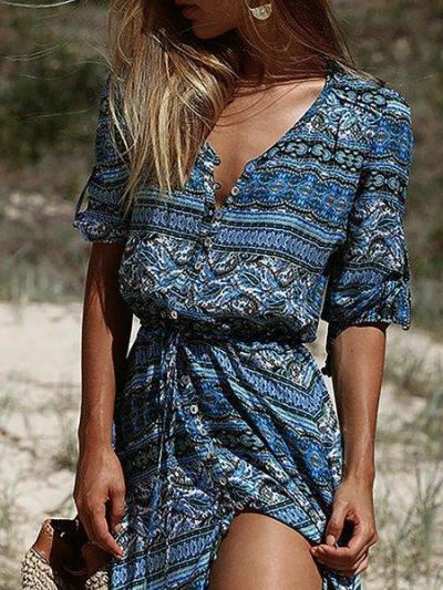 Blue V Neck Paneled Basic Half Sleeve Maxi Dresses