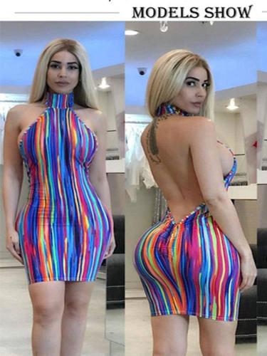 Rainbow Multicolor Stripes Crew Neck Beach Holiday Dress