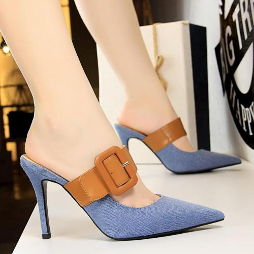 High-heeled Pointed Toe Denim Colorblock Slippers Sandals with Belt Buckle