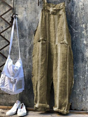 Casual Plus Size Striped Jumpsuit