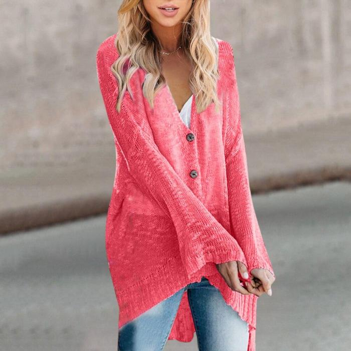 Knitted Women Cardigan Casual Button Long Sleeve Solid Sweater Cardigan Fashion Autumn Lady Sweaters Tops Jumper