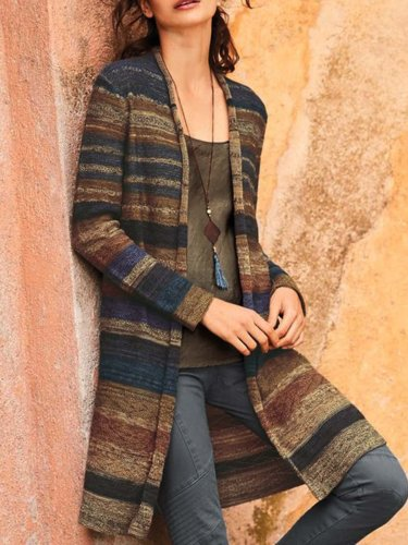 Casual Color-Block Cotton-Blend Long Sleeve Cardigan