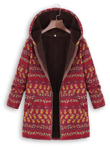 Pineapple Printed Hoodie Coat