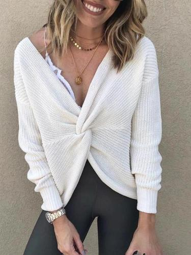 Brief V Neck Long Sleeve Pure Colour Loose Sweater