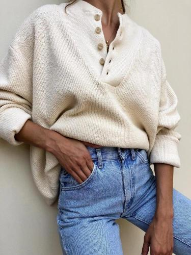 Women's Fashion Single-Breasted Long Sleeve Knit Sweater
