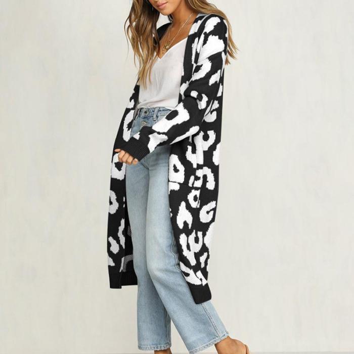 Fashion Leopard Long Personality Cardigan Sweater