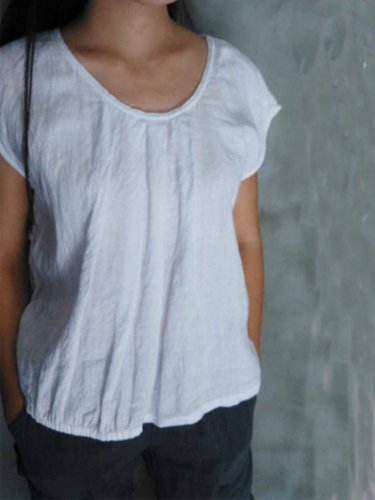 Casual Round Neck Solid Shirts & Tops