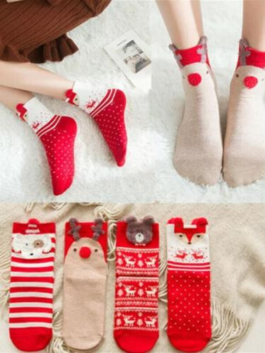 Christmas Socks Puppy Elk Fox Bear Santa Claus Gift Cotton Cartoon Keep Warm lady Socks