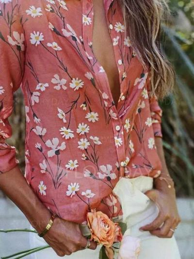 Pink Cotton Long Sleeve Shirts & Tops