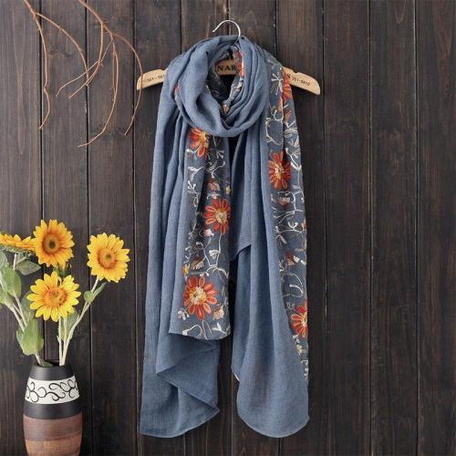 180x90cm Embroidery Female Cotton Linen Retro Nation Shawl Plaid Scarves