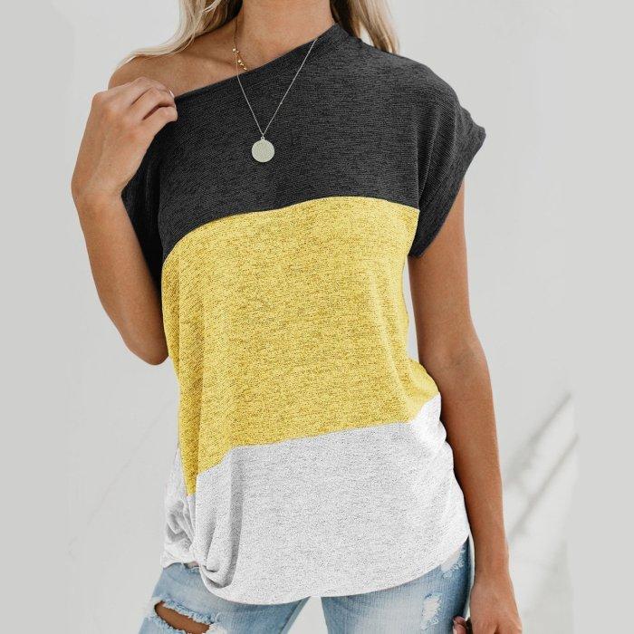 Color-block Casual Cotton T-shirts