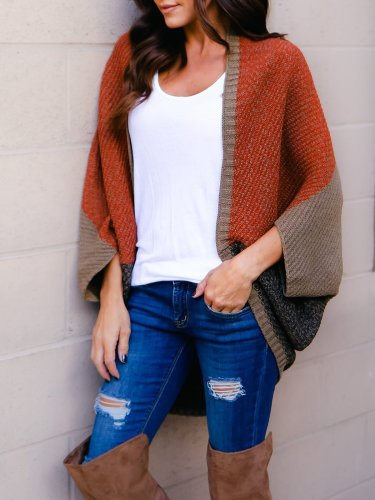 Color-block Casual Batwing Cardigan