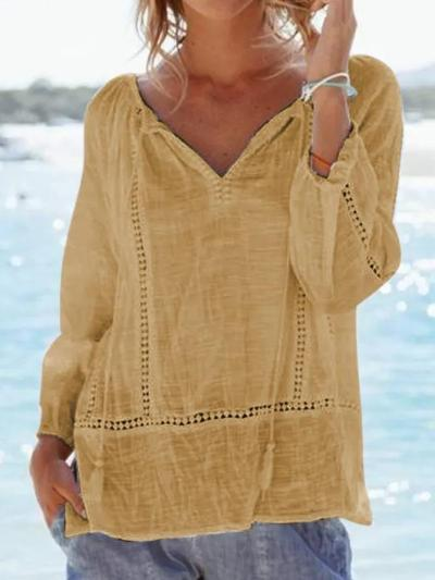 Women Holiday Causal Tops V Neck Long Sleeve Guipure Lace