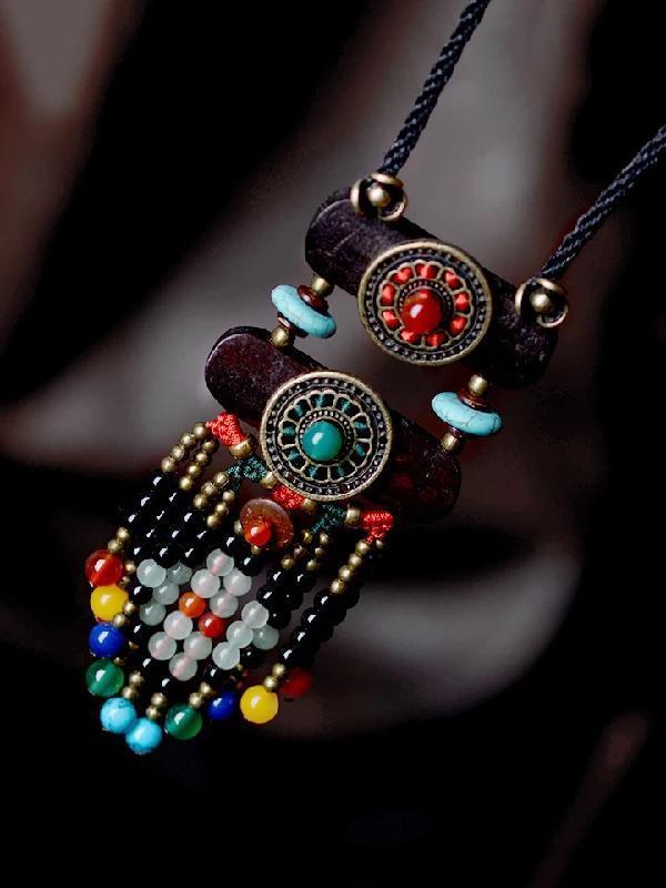 Original Geometry AgateTassel Necklace