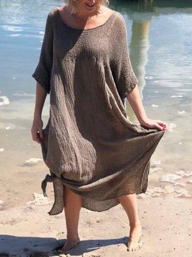 Round Neck Solid Short Sleeve Linen Dresses