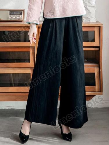 Summer Cotton Linen Wide Leg Pants Vintage Trousers