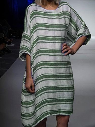 Women Casual Loose Striped Tops Tunic Maxi Dress