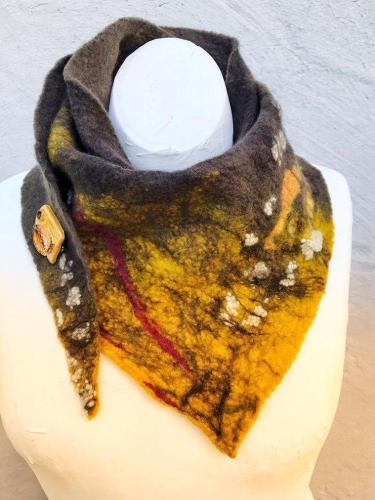 Yellow Ombre/tie-Dye Vintage Scarves & Shawls