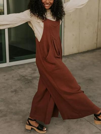 Solid Casual Cotton-Blend Pockets One-Pieces