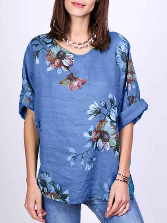 Vintage Floral Printed 3/4 Sleeve Shirt For Women