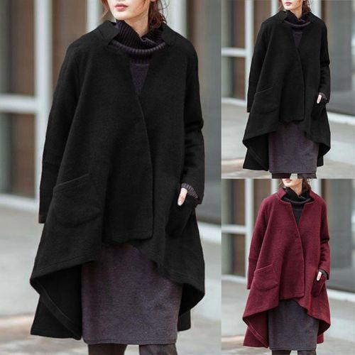 Women Vintage Stand Collar Irregular Poncho Coat Solid Color Oversized Long Outwear