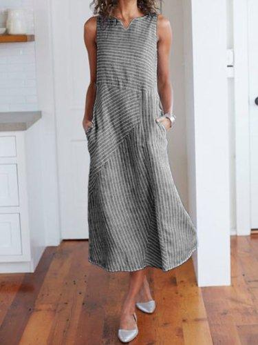 V Neck Striped Holiday Cotton Dresses