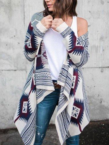 Collarless  Tribal Printed  Long Sleeve Cardigans