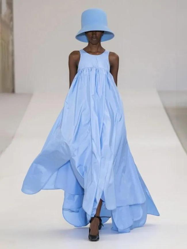 Blue Cotton-Blend Plain Crew Neck Sleeveless Dresses