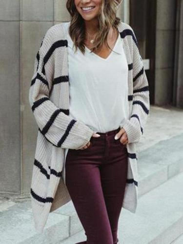 Medium Long Striped Loose Cardigan
