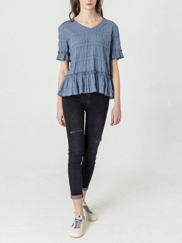 Blue Short Sleeve V Neck Cotton Shirts & Tops