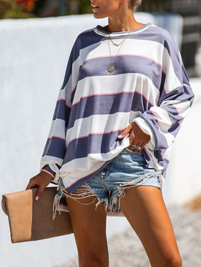 White-Blue Stripes Casual Crew Neck Shirts & Tops