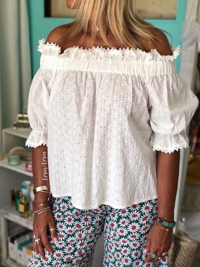 White Off Shoulder Cotton Boho Cutout Shirts & Tops