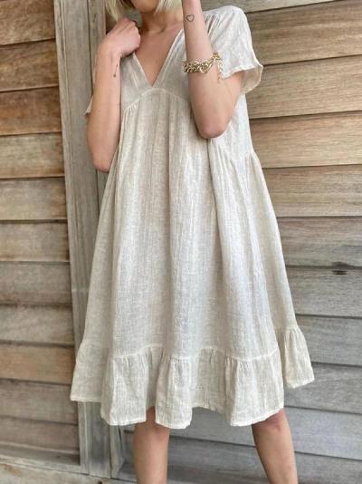 Beige Paneled Short Sleeve Cotton-Blend Dresses