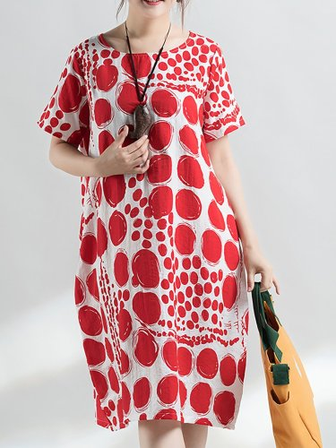 Short Sleeve Polka Dots Crew Neck Printed Casual Midi Plus Size Dress