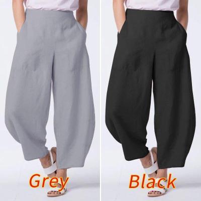 2020 Fashion Lady Solid Long Trousers Wide Leg Pants Casual Pockets Streetwear Female Side Zipper Up Pantalon 5XL