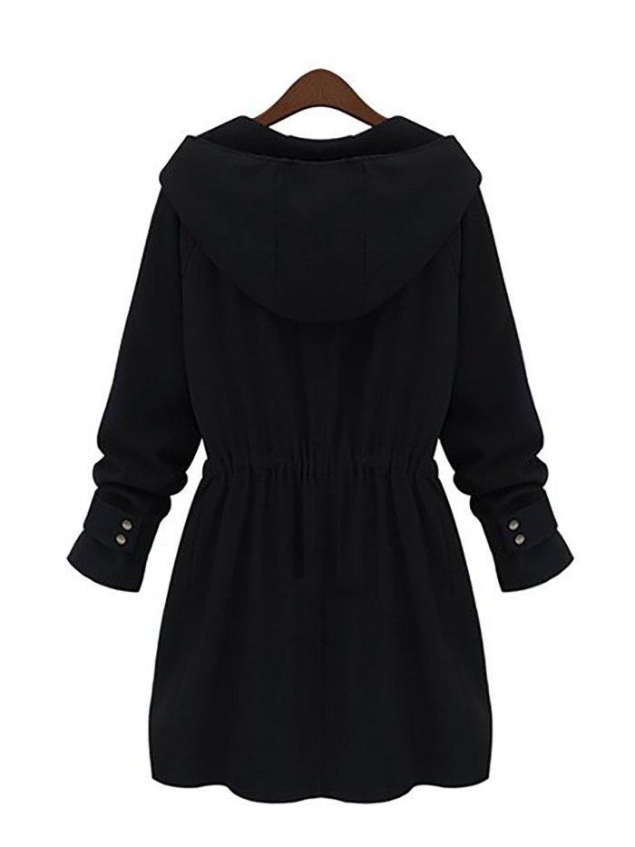 Drawstring Waist Zipper Hoodie Coat