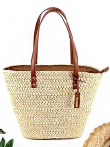 Women's Summer Beach Zipper Woven Straw Tote Bag