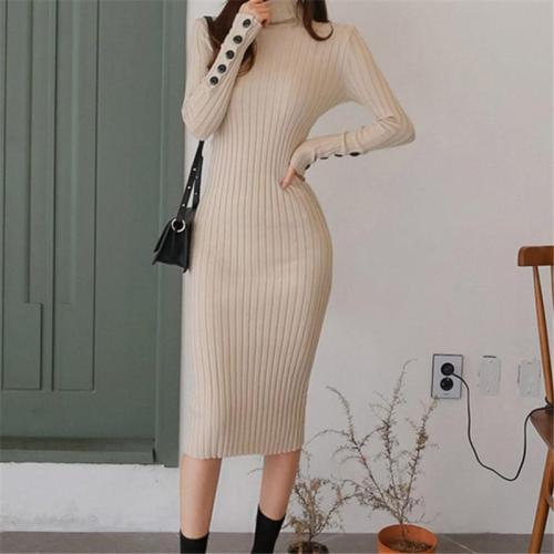 Casual Sexy High   Collar Pure Color Knitted Sweater Maxi Dresses