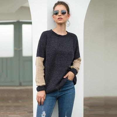 Autumn and Winter Women's Sweater Knitwear Black and White Contrast Sweater Office Lady  Full  Pullovers weaters