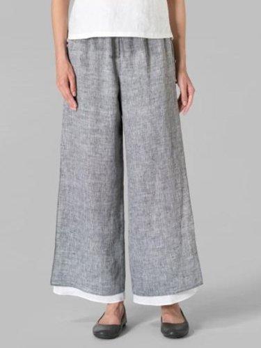 Solid Casual Loose Leg Pants