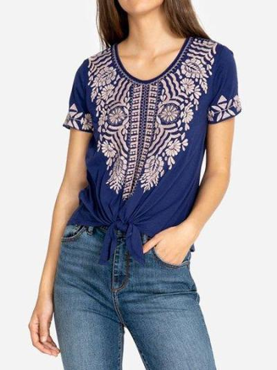 Cotton jersey Embroidered Tie front V-neck T-shirt