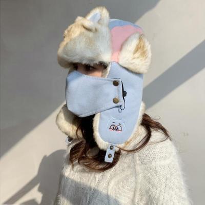 Women's Autumn and Winter Outdoor Ear Protector Aircraft Cap Cat Ear Ski Cap.