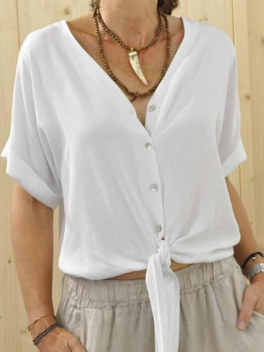 Plus Size Casual Solid V Neck Short Sleeve Shirts & Tops