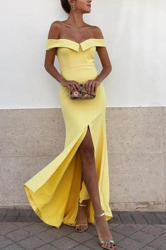 Sexy Yellow Off Shoulder Short Sleeves Fishtail Bodycon Dress
