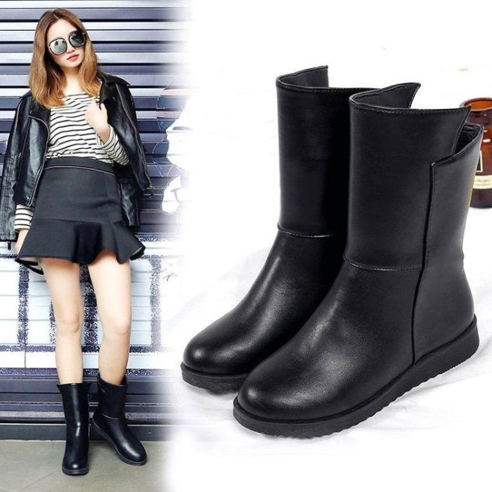 Black Wedge Heel Winter Daily PU Boot
