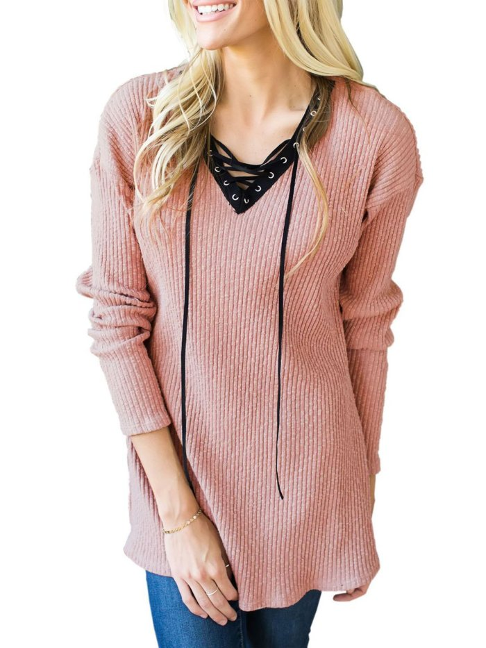 Khaki Casual Solid Knitted Sweater