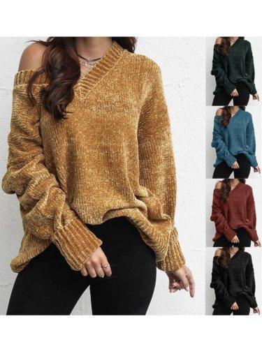 Vintage Long Sleeve V Neck Sweaters
