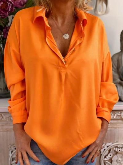 Orange Shift Long Sleeve Vintage Shirts & Tops