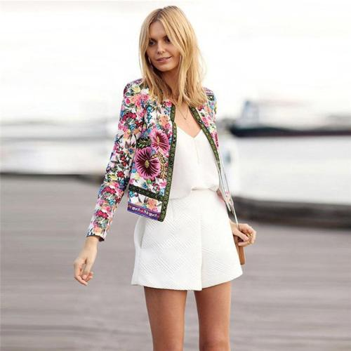 Women's Cardigan Jacket Floral Printed Coat Outwear